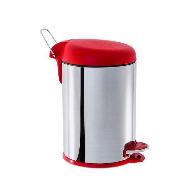 Oferta de Lixeira com Pedal e Tampa Brinox Decorline Vermelha 5 litros por R$98,35