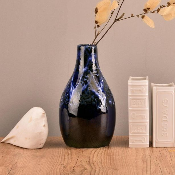 Oferta de Vaso de Cerâmica Milos Azul 33cm por R$129,99