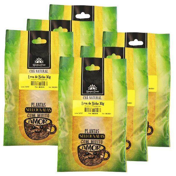 Oferta de Erva de Bicho Chá de Folha Pura Kampo de Ervas 6und 30g cada por R$26,57
