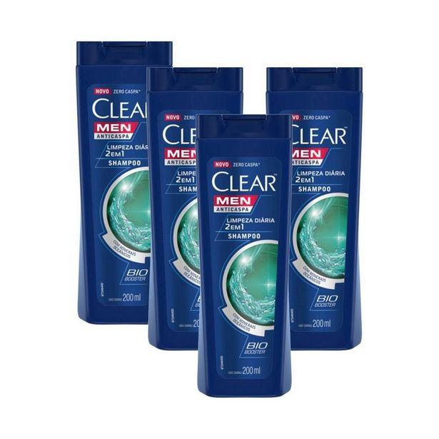 Oferta de Kit 4 Shampoos Anticaspa Clear Limpeza Diária 2 Em 1 200ml por R$62,09