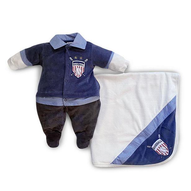 Oferta de Saída Maternidade Menino Baseball Jeans - Maxibaby - Azul - RN por R$99