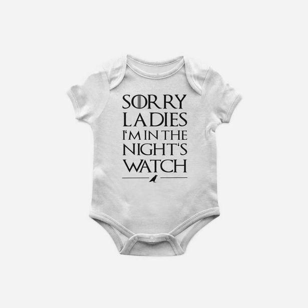Oferta de Body Bebê Game of Thrones nights watch - Branco - M por R$32,9