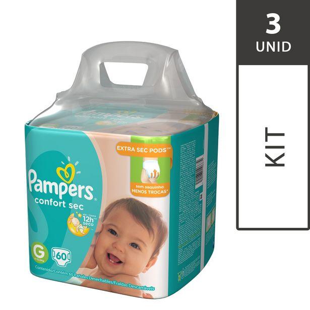 Oferta de Kit com 3 Fraldas PAMPERS Confort Sec G Super Pack - 180 Fraldas por R$194,7