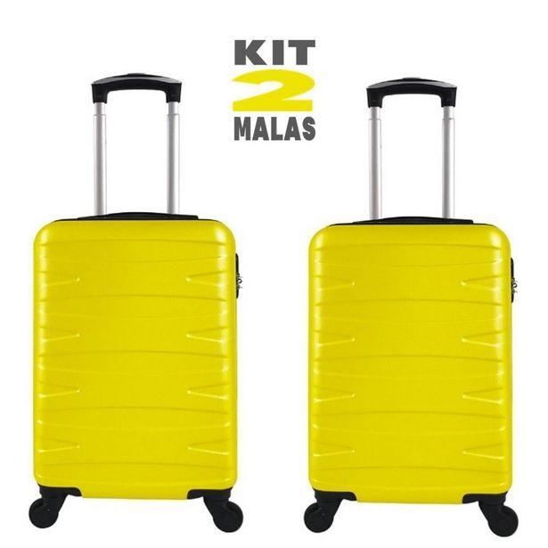 Oferta de Kit c/ 2 Malas de Bordo c/ 4 Rodinhas 360º (Regulamentação ANAC) Stile 18´´ Amarelas por R$499