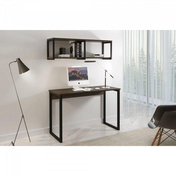 Oferta de Conjunto Home Office Escrivaninha e Prateleira Industrial em Aço e BP Yescasa Grafite/Mocaccino por R$619,71