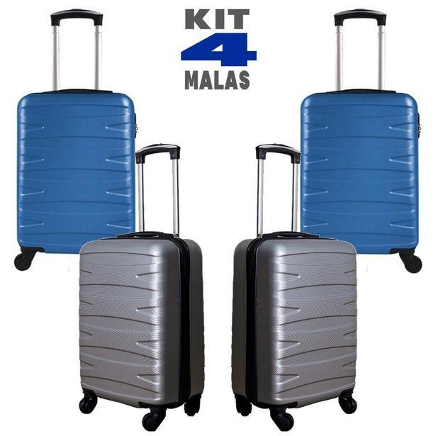 Oferta de Kit c/ 4 Malas de Bordo c/ 4 Rodinhas 360º (Regulamentação ANAC) Stile 18´´ - 2 Cinzas e 2 Azul por R$999