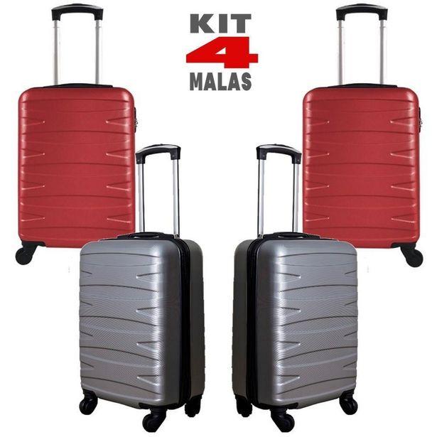 Oferta de Kit c/ 4 Malas de Bordo c/ 4 Rodinhas 360º (Regulamentação ANAC) Stile 18´´ - 2 Cinzas e 2 Vermelhas por R$999