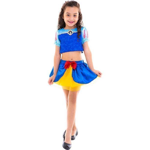 Oferta de Fantasia Infantil - Cropped - Disney - Princesas - Branca de Neve - Regina Festas - P por R$86,99