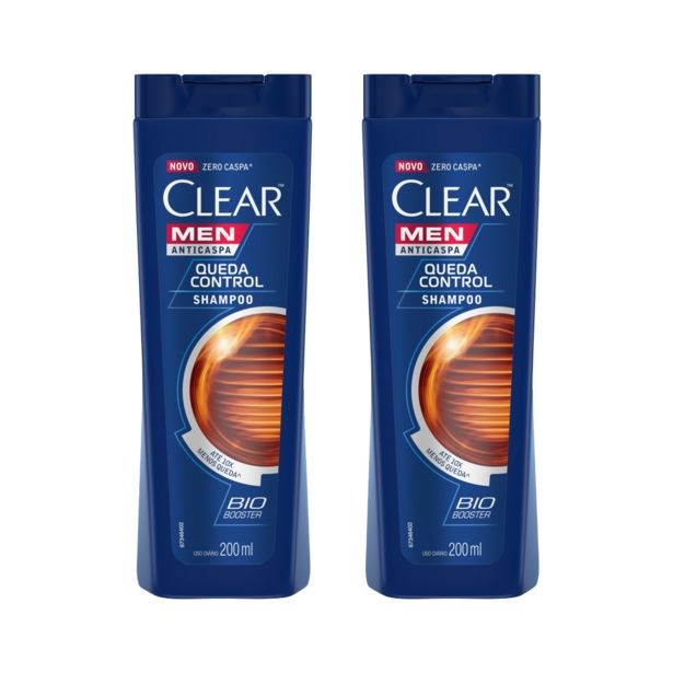 Oferta de Kit Clear com 2 Shampoos Anticaspa Queda Control 200ML Cada por R$35,98