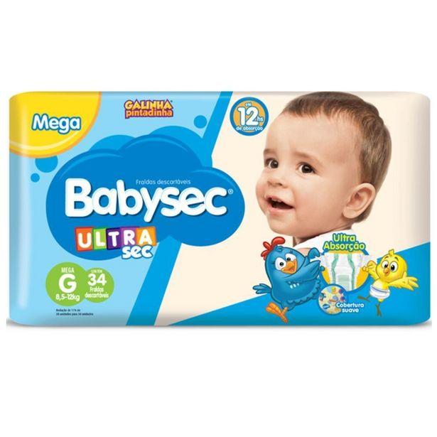 Oferta de Kit 34 Fraldas Babysec Ultrasec G  30 Fraldas Babysec Premium G por R$61,98