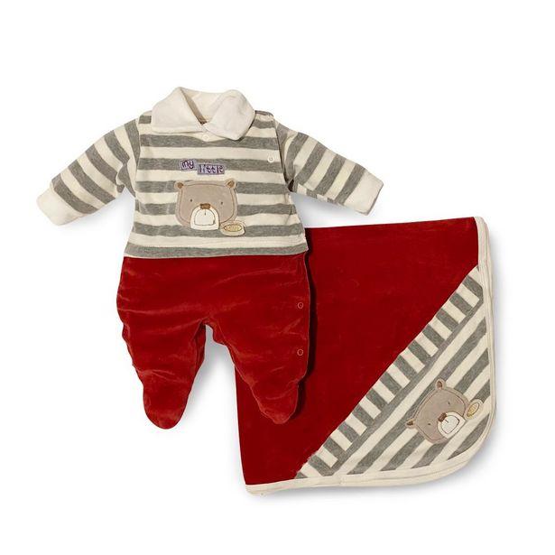 Oferta de Saída Maternidade Menino Teddy Vermelho - Maxibaby - Vermelho - RN por R$99