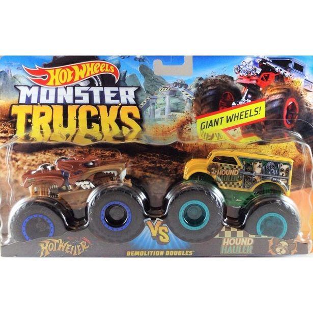Oferta de Hot Wheels Monster Trucks Hotweiler vs Hound Hauler - Mattel por R$89,99