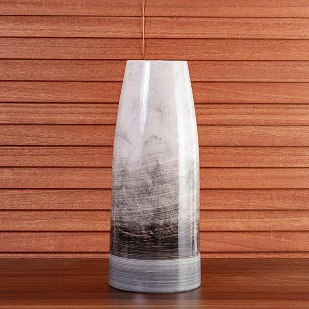 Oferta de Vaso de Cerâmica Dublin Marrom e Branco 38cm por R$149,99