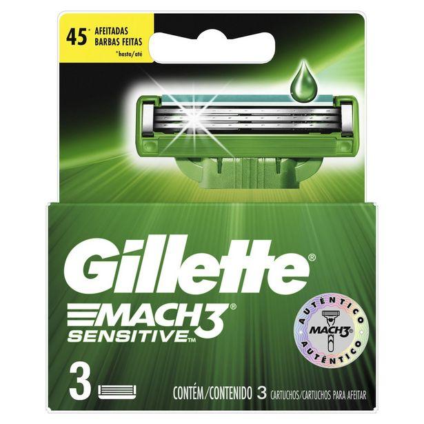 Oferta de Carga para Aparelho de Barbear Gillette Mach3 Sensitive com 3 unidades por R$38,33