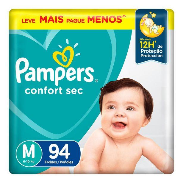 Oferta de Fraldas Pampers Confort Sec - M 94 Unidades por R$99,9