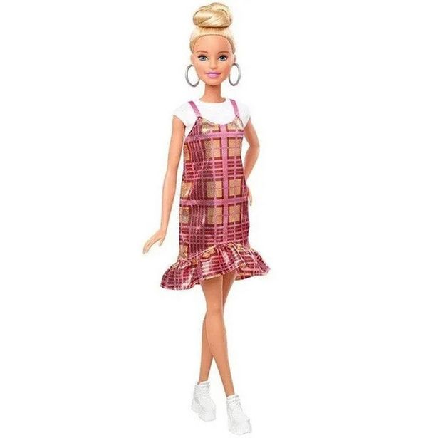 Oferta de Boneca Barbie Fashionista - Blusa Branca e Vestido Xadrez - Mattel por R$89,99