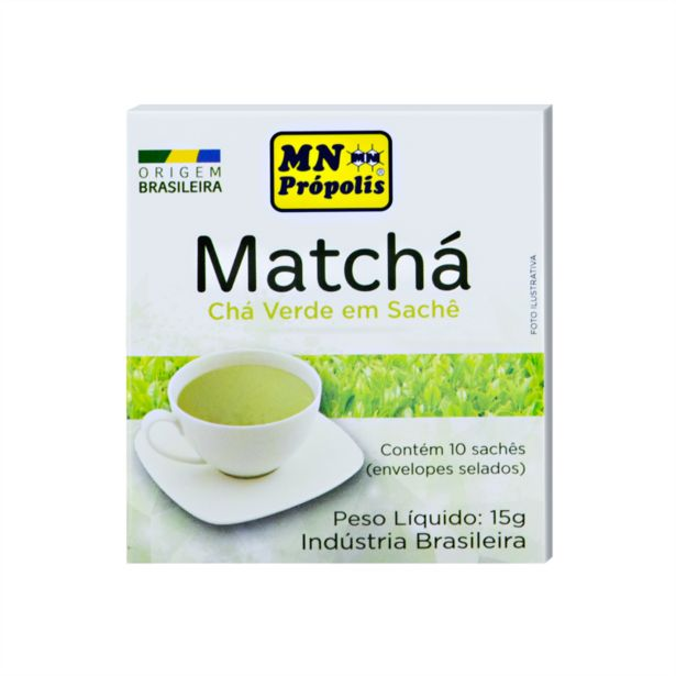 Oferta de Chá Verde Moído Matchá com 10 Sachês MN Food 15g por R$15,28
