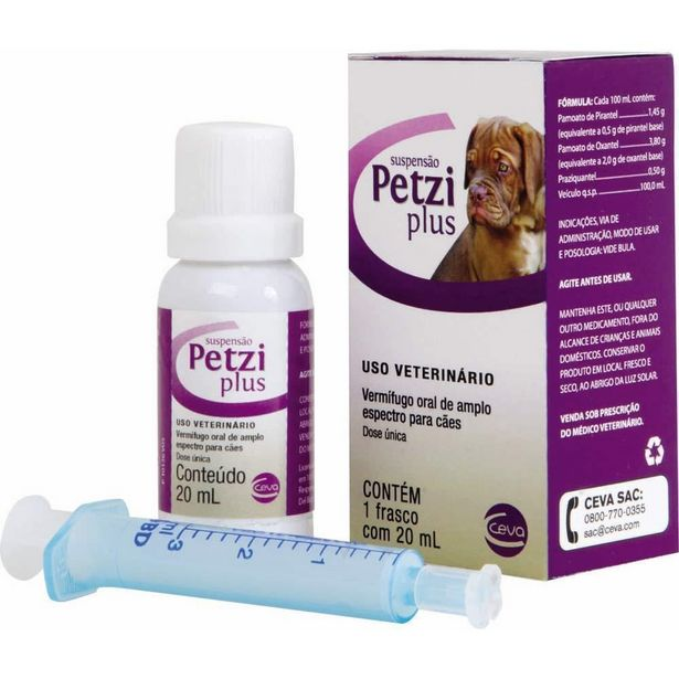 Oferta de Vermífugo Petzi Plus Suspensão Ceva 20ml por R$49,41