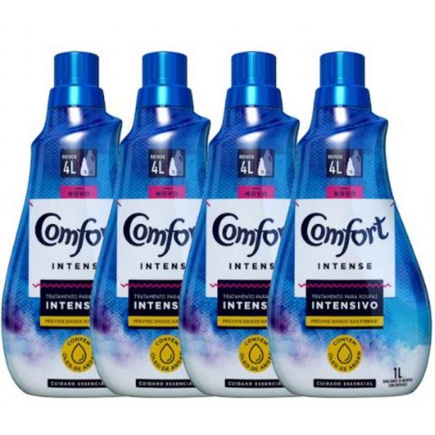 Oferta de Kit com 4 Amaciantes Concentrados Comfort Essencial Azul 1L por R$67,96