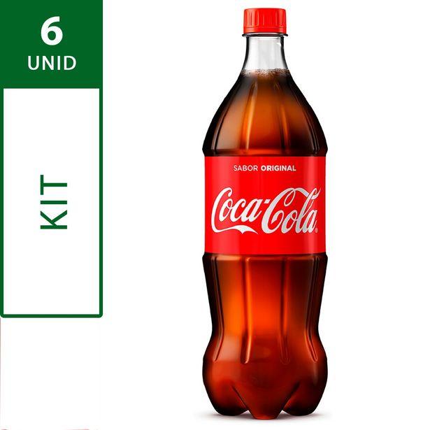 Oferta de Kit com 6 Refrigerantes COCA COLA Garrafa 1 Litro Cada por R$23,94