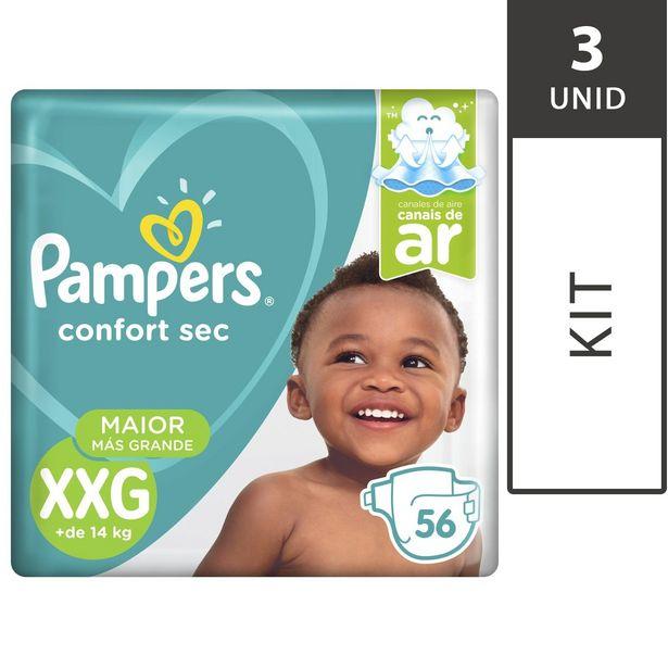 Oferta de Kit com 3 Fraldas PAMPERS Confort Sec XXG Pacote 56 Unidades Cada por R$194,7