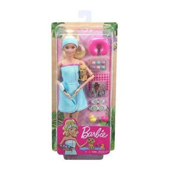 Oferta de Barbie Fashionista Dia de SPA com Filhotinho Mattel GKH73/GJG55 por R$149,9