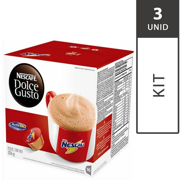 Oferta de Kit com 3 Caixas de Cápsulas de Café Nescafé DOLCE GUSTO Nescau com 16 Unid, Cada - Nestlé por R$70,47