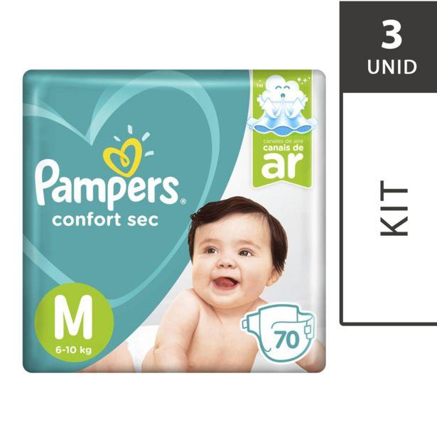 Oferta de Kit com 3 Fraldas PAMPERS Confort Sec M Super Pack - 70 Unidades Cada por R$194,7