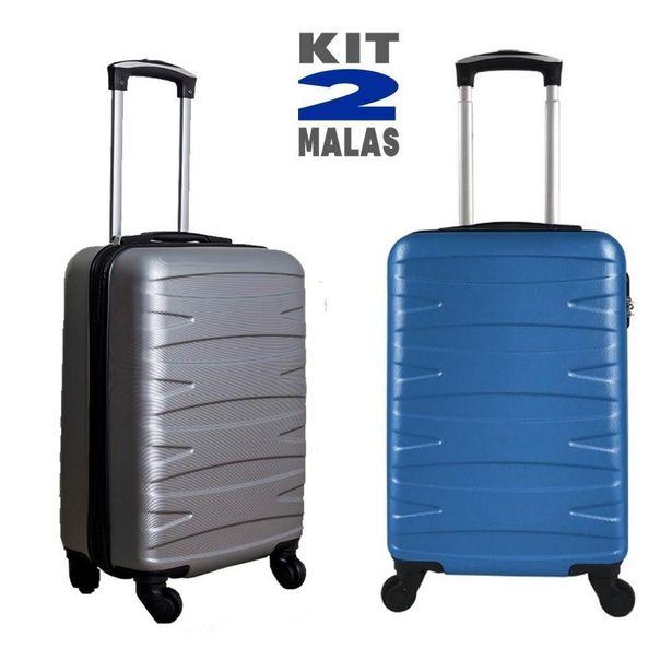 Oferta de Kit c/ 2 Malas de Bordo Stile 18´´ - Cinza e Azul por R$499