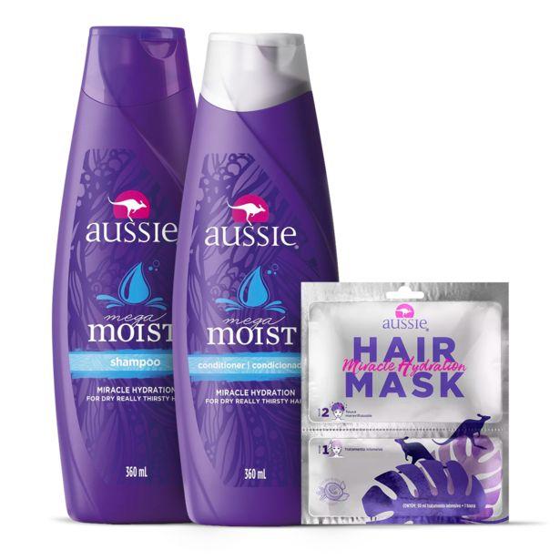 Oferta de Kit Aussie Moist Shampoo 360ml + Condicionador 360ml + Hair Mask Hidratação por R$127,47
