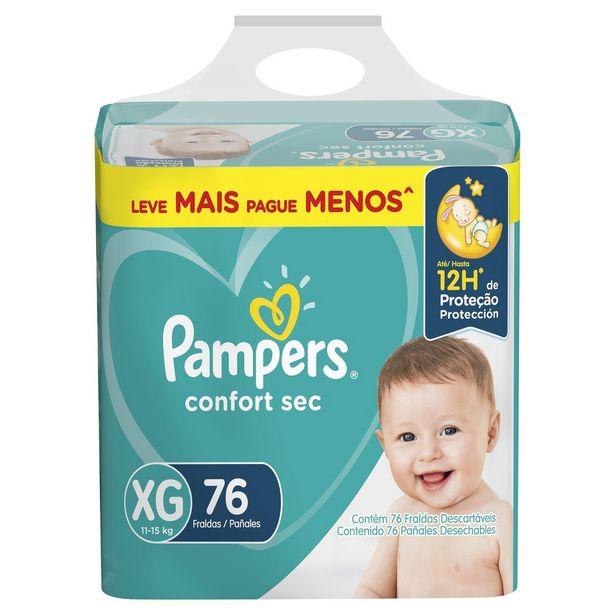 Oferta de Fraldas Pampers Confort Sec - XG 76 Unidades por R$99,9