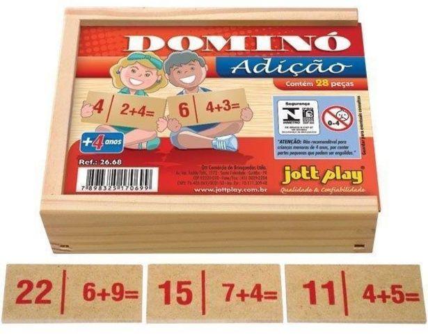 Oferta de Brinquedo Educativo Dominó De Adição 28 Peças - JOTTPLAY por R$21,29