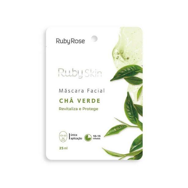 Oferta de Máscara Facial De Tecido Ruby Skin - Chá Verde  1 unidade por R$8,9