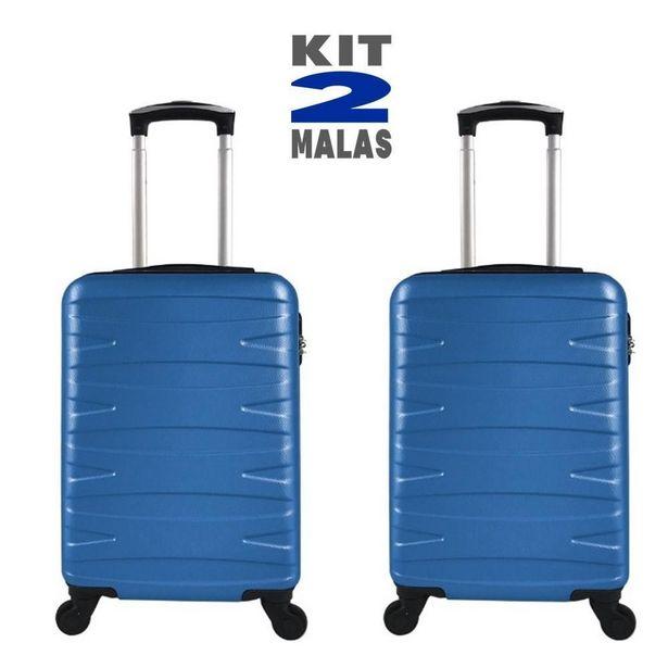 Oferta de Kit c/ 2 Malas de Bordo c/ 4 Rodinhas 360º (Regulamentação ANAC) Stile 18´´ Azul por R$399