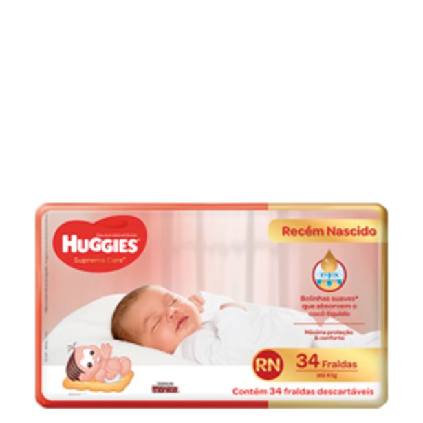 Oferta de Fralda Descartável Huggies Supreme Care Mega RN com 34 unidades por R$23,9