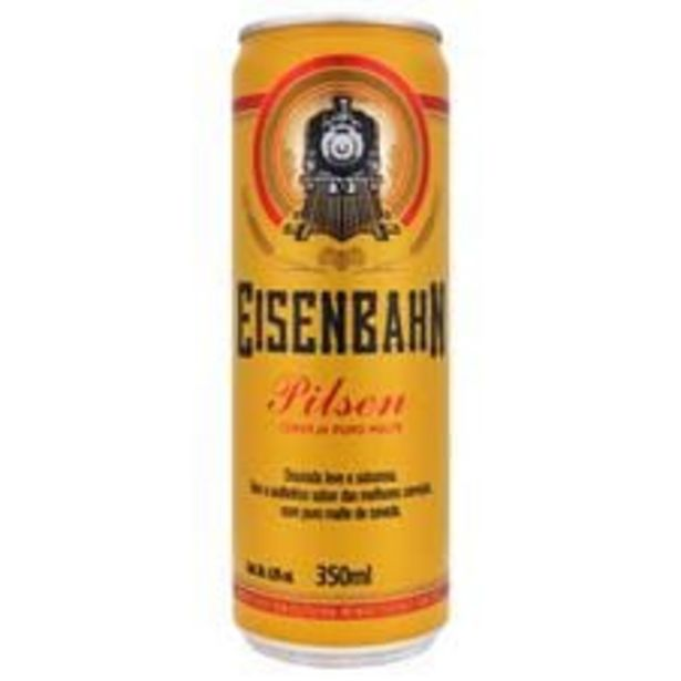 Oferta de Cerveja Eisenbahn Pilsen Puro Malte  Lata  350 mL por R$3,49
