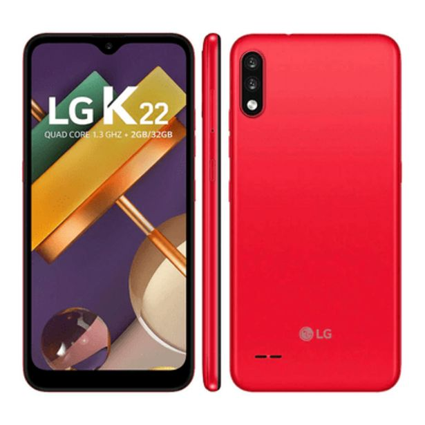 Oferta de Smartphone LG K22 32GB Vermelho por R$729