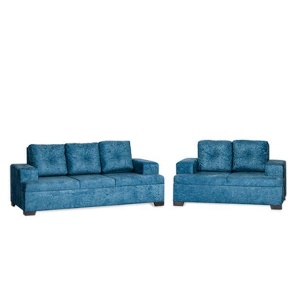 Oferta de Sofá 3 e 2 Lugares Azul Aruba Finezzi por R$1241,9