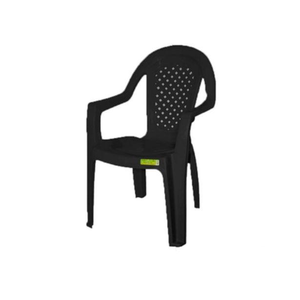 Oferta de Cadeira de Plástico Topplast com Braço Preto por R$39,9
