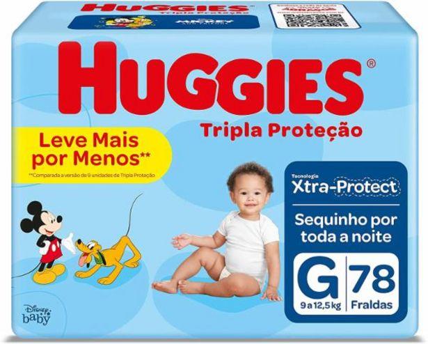 Oferta de Fralda Huggies Tripla Proteção G com 78 por R$59,99