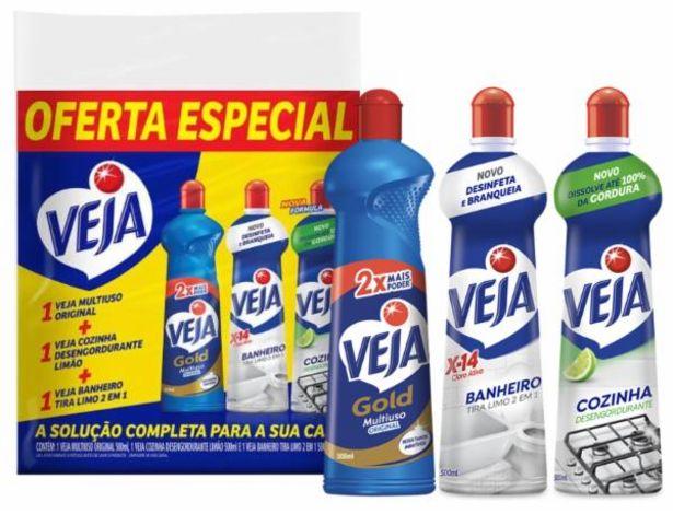 Oferta de Kit Limpador Multiuso + Banheiro + Cozinha Veja 500 ml Oferta Especial por R$14,99