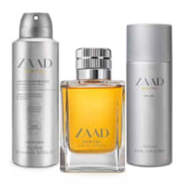 Oferta de Combo Zaada Santal: Eau de Parfum 95ml + Splash 200ml + Antitranspirante 75g por R$301,5