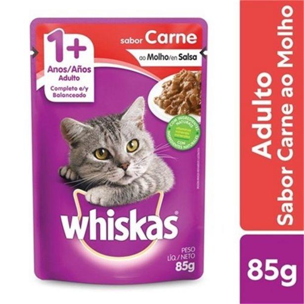 Oferta de Ração Úmida para Gatos Adultos Whiskas Carne Ao Molho 85G por R$2,99