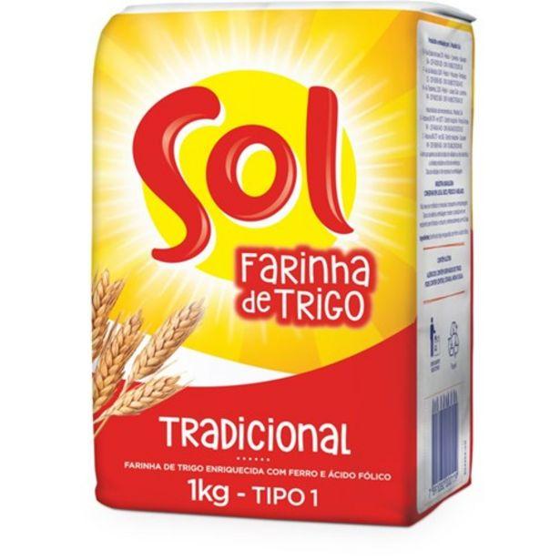 Oferta de Farinha de Trigo Sol Pacote 1Kg por R$3,39