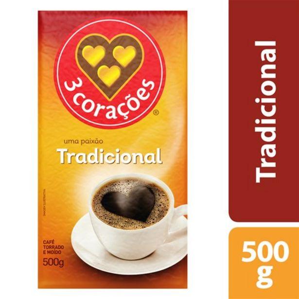 Oferta de Café 3 Corações Tradicional Vácuo 500G por R$9,99