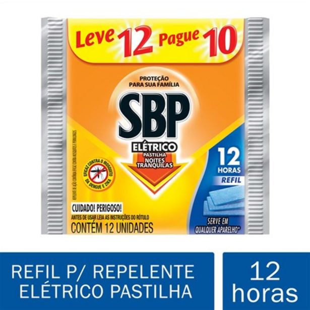 Oferta de Repelente Sbp Elétrico Pastilha Refil Oferta 12 Un por R$5,79