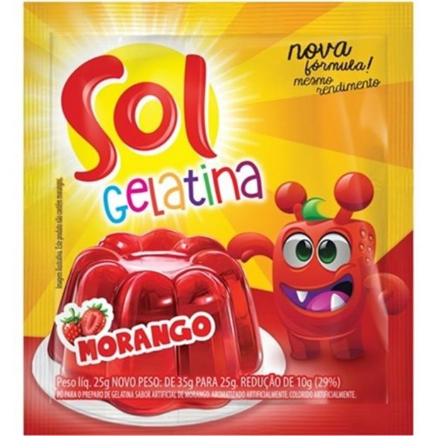 Oferta de Gelatina Sol Morango 25G por R$1,25