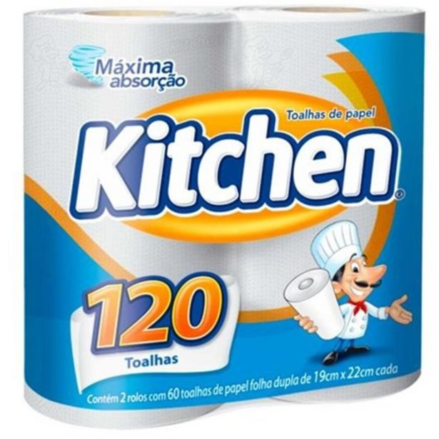 Oferta de Papel Toalha Kitchen 120 Folhas Pacote 2 Un por R$5,39