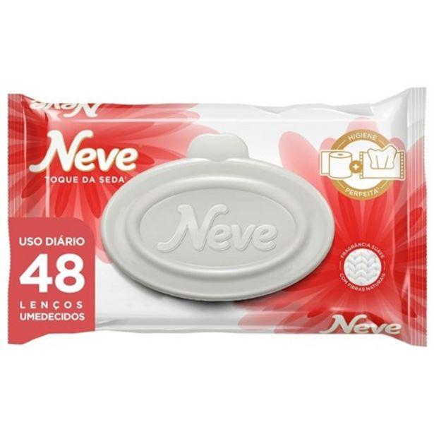 Oferta de Lenço Umedecido Neve Toque de Seda Embalagem 48Un por R$9,9