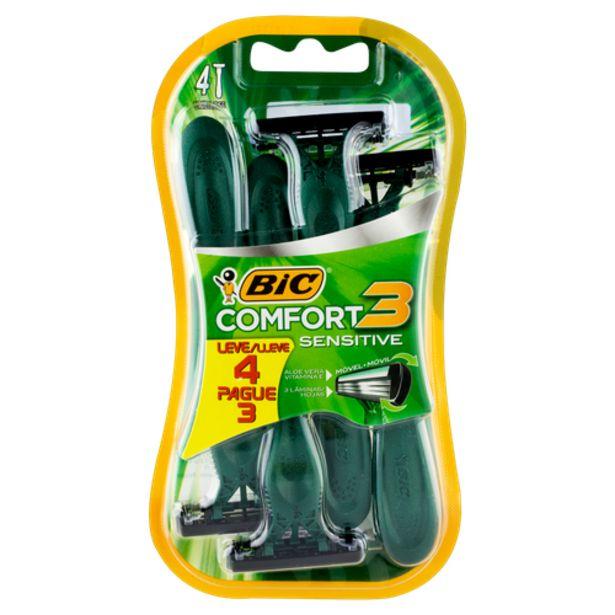 Oferta de Aparelho de barbear Bic comfort 3 sensível por R$12,98